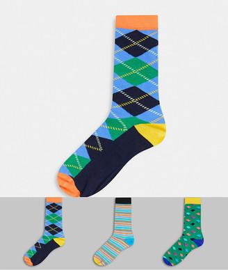 Happy Socks HS by 3 pack print socks
