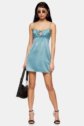 Topshop PETITE Powder Blue Gathered Bust Slip Dress