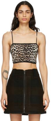 Ganni Black and Brown Leopard Bra
