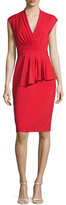 Badgley Mischka Cap-Sleeve Peplum Cocktail Dress, Cherry Red