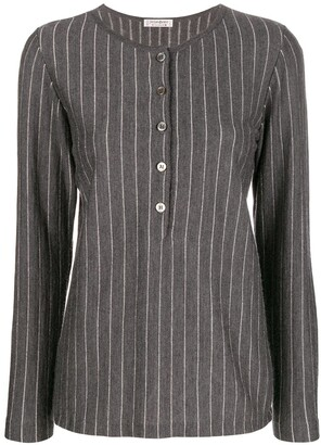 Yves Saint Laurent Pre Owned 1970's Pinstripe Buttoned Blouse