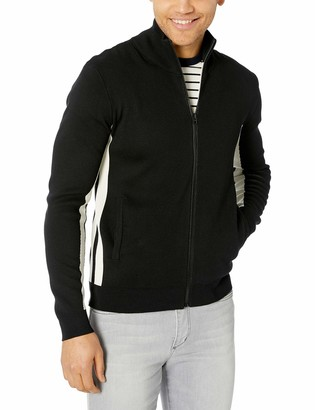 French Connection Men's Lakra Block Knit Long Sleeve Zip Up Sweater