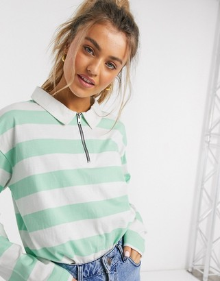 Daisy Street oversized rugby shirt in vintage stripe