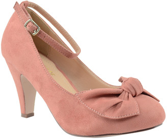 Chase & Chloe Women's Pumps MAUVE - Mauve Bow Kimmy Ankle-Strap Pump - Women