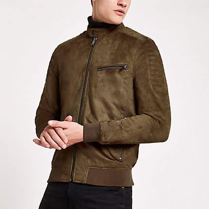 River Island Dark brown faux suede racer neck jacket