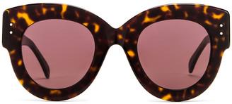 Alaia Round Cat Eye Sunglasses in Havana & Brown | FWRD
