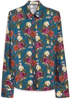 Mulberry Alice Shirt Petrol Blue Antique Rose Twill