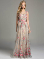 Lara Dresses - Embroidered Jewel Illusion Evening Gown with Silver Trimming and Rhinestone Embellishments 33223