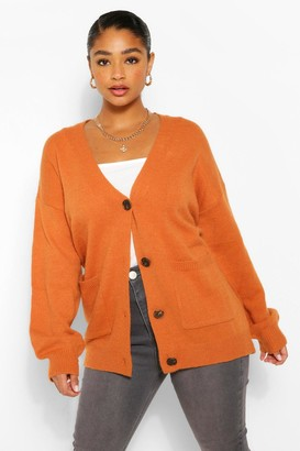 boohoo Plus Pocket Front Button Front Cardigan