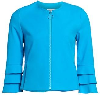 Akris Punto Tiered Ruffle-Sleeve Zip Jacket