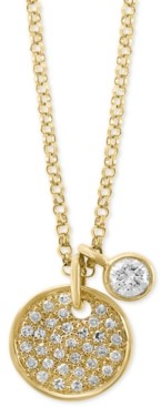 """Effy Diamond Charm and Circular 18"""" Pendant Necklace (1/4 ct. t.w.) in 14k Gold"""