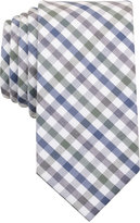 Bar III Men's Olive Heather Multicolor Gingham Skinny Tie, Only at Macy's