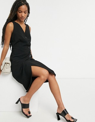 Closet London Closet wrap pinafore dress in black