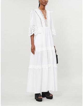Self-Portrait Viole lace-trim cotton-poplin maxi dress