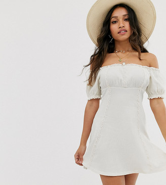 Asos DESIGN Petite textured bardot mini sundress with lace inserts-White