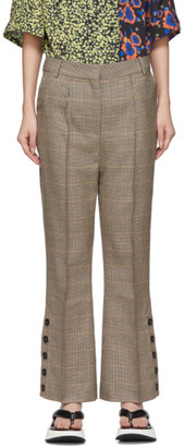 Rokh Beige Houndstooth Utility Trousers