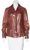 Just Cavalli Notched Lapel Leather Jacket