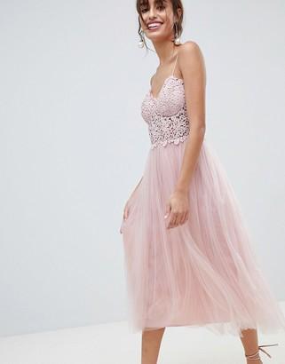 Asos DESIGN Premium Lace Cami Top Tulle Midi Dress