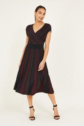 Yumi Red Lurex Knitted Dress