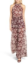Band of Gypsies Floral Print Chiffon Jumpsuit