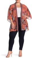 Daniel Rainn Dr2 By Drawstring Floral Open Front Kimono (Plus Size)