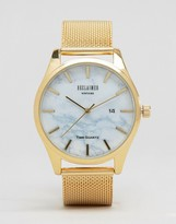 Reclaimed Vintage Inspired Marble Mesh Watch In Gold