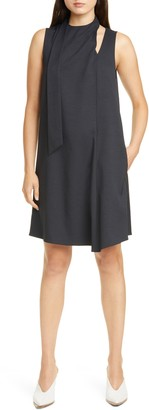 Tibi Chalky Drape Pleated Neck Shift Dress