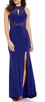 Jodi Kristopher Bead Embellished Applique Bodice Open Back Mock Neck Long Dress