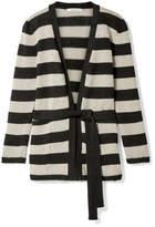 Max Mara Alea Striped Linen Cardigan - Black