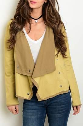 R & E Re Order Khaki Draped Jacket