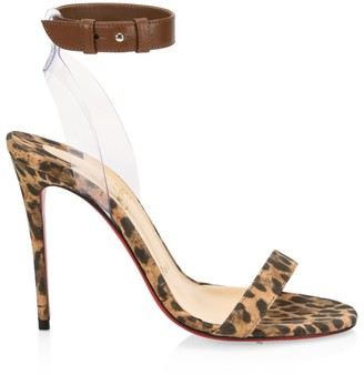 Christian Louboutin Jonathan Leopard Leather Ankle-Strap Sandals