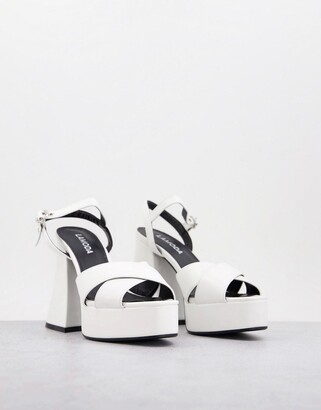 LAMODA flared heel platform sandals in white