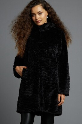 Dorothy Perkins Women's Petites Black Faux Fur Coat - 6