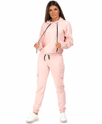 Lexi Fashion Womens Ladies Utility Pocket 2Pcs Drawstring Joggers Bottoms Combat Pants Casual Loungewear Tracksuit Hooded Top Co Ord Set Black UK Size S/M-8/10