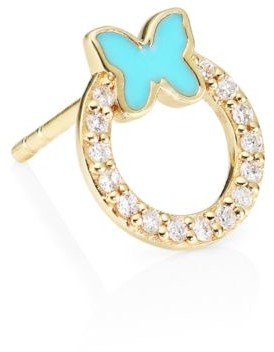 Sydney Evan Diamond, Turquoise Enamel & 14K Yellow Gold Butterfly Single Stud Earring
