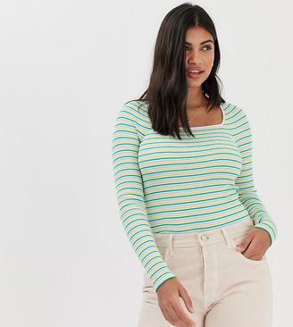 Miss Selfridge top with square neck in stripe-Multi