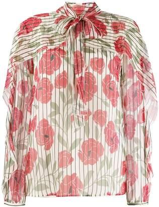 RED Valentino poppy print silk blouse