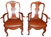 One Kings Lane Vintage 19th Century Danish Armchairs - Pair - House of Charm Antiques - brown