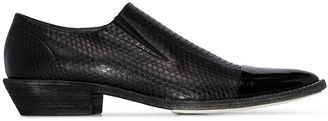 Haider Ackermann pointed snake-effect loafers