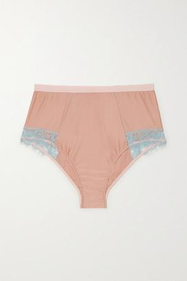 Dora Larsen Ottalie Corded Lace-trimmed Satin-jersey Briefs - Peach