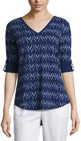 Liz Claiborne Elbow Sleeve V Neck T-Shirt