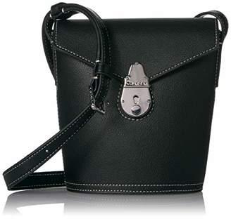 Calvin Klein Statement Series Lock Daytonna Leather Mini Bucket Crossbody Bag