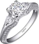 Lafonn Platinum Plated Sterling Silver Micro Pave Round Three Stone Siumlated Diamond Ring