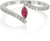 Forzieri White Gold Eye Shaped Ruby and Diamonds Ring