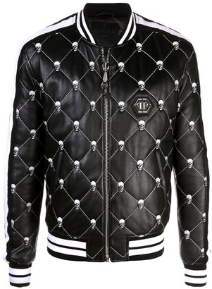 Philipp Plein Skull quilted leather bomber jacket