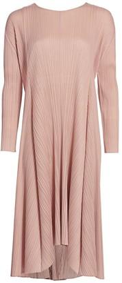 Pleats Please Issey Miyake Sliced Drawstring Pleated Midi Dress