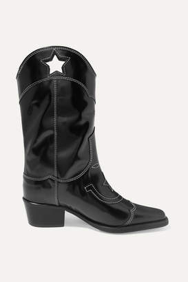 Ganni Embroidered Patent-leather Cutout Boots - Black
