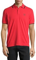 McQ by Alexander McQueen Logo Polo Shirt with Contrast Tipping, True Red