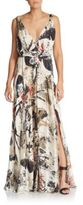 Donna Karan Printed Silk Maxi Dress