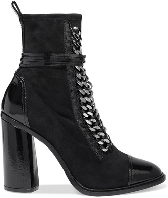 Casadei Chain-trimmed Lace-up Suede And Patent-leather Ankle Boots